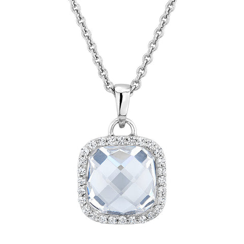 Sterling silver pendant set with cushion and round cuts Signity Cz