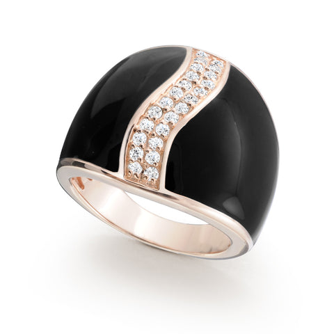 Rose Gold Plated Sterling silver ring Set with Signity CZ, Rhodium Plated and Enamel Finish