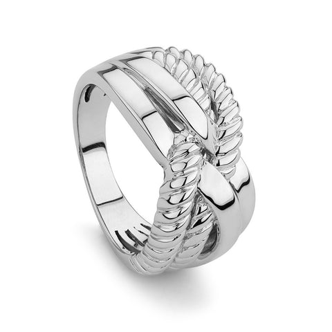 Cross Over Sterling Silver ring,  Rhodium Plated