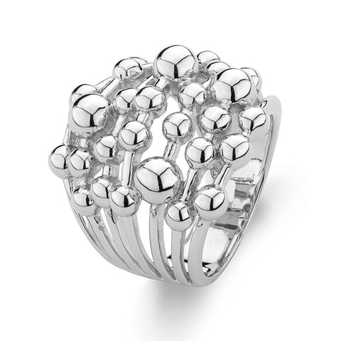 Beaded Sterling Silver Ring Rhodium plated