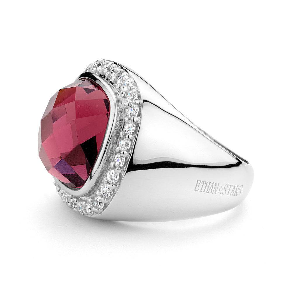 Sterling Silver Ring Set With Signity CZ Centered With A Pink Swarovski Crystal