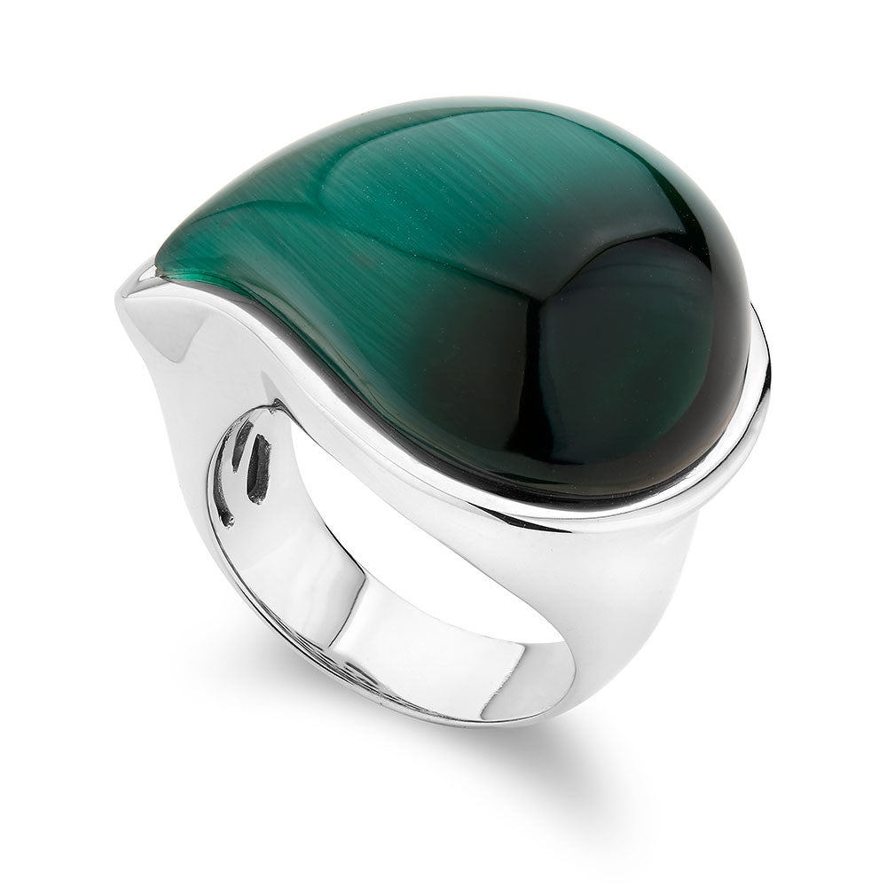 Sterling silver ring Set With a Drop Shape Emerald Green Cats Eye, Rhodium Plated