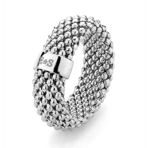 Mesh Sterling Silver Ring rhodium plated