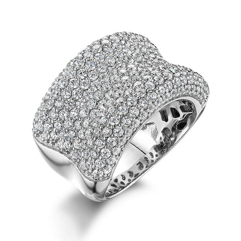 Concave pave set ring in Sterling Silver