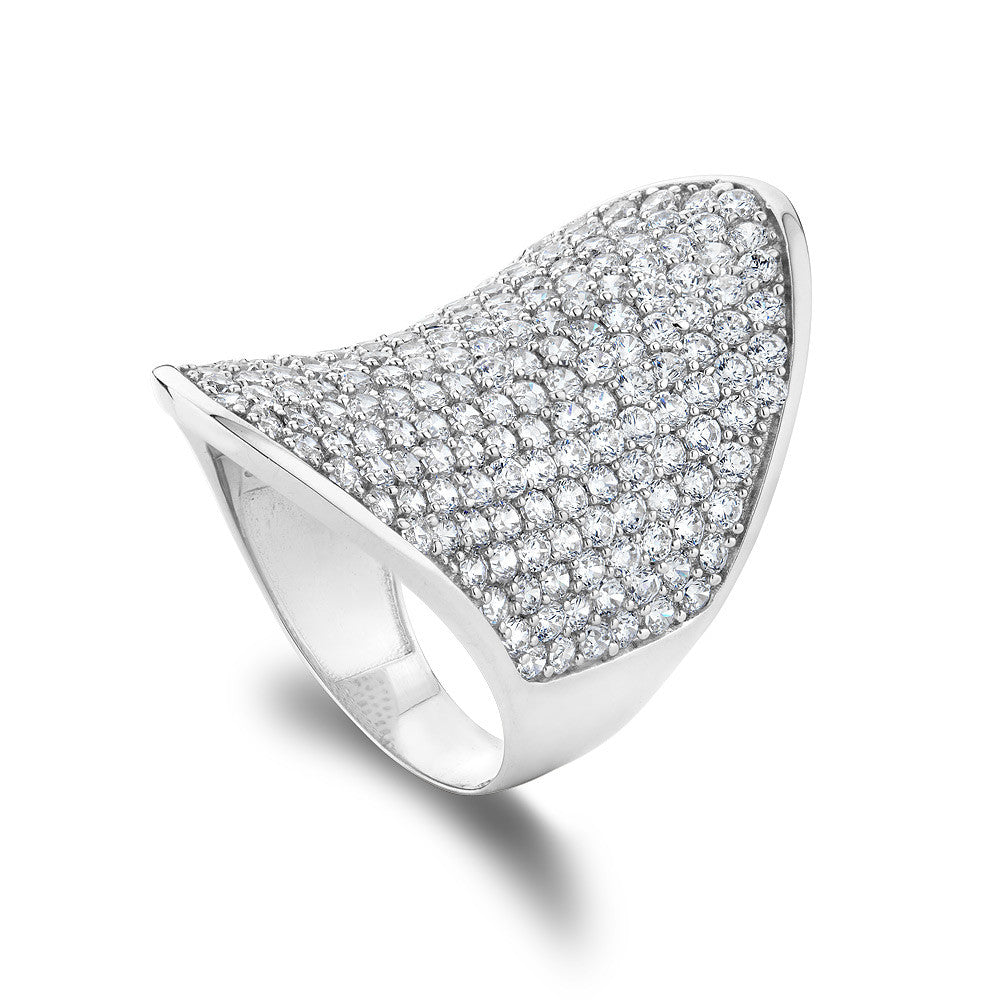 Sterling silver concave ring  pave set with Signity CZ