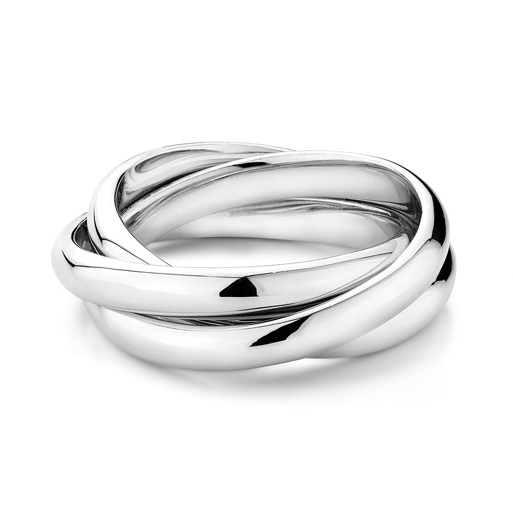 Sterling Silver trinity ring , rhodium plated