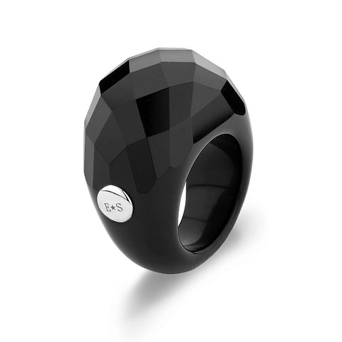 Natural Faceted Onyx Ring With A Sterling Silver Accent
