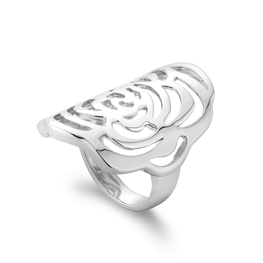 Sterling Silver Ring with A Flower Motif , Rhodium Plated