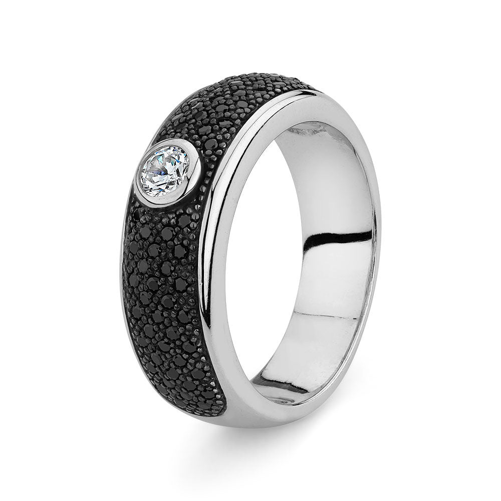 Sterling silver ring pave set With Black Signity CZ, Rhodium Plated