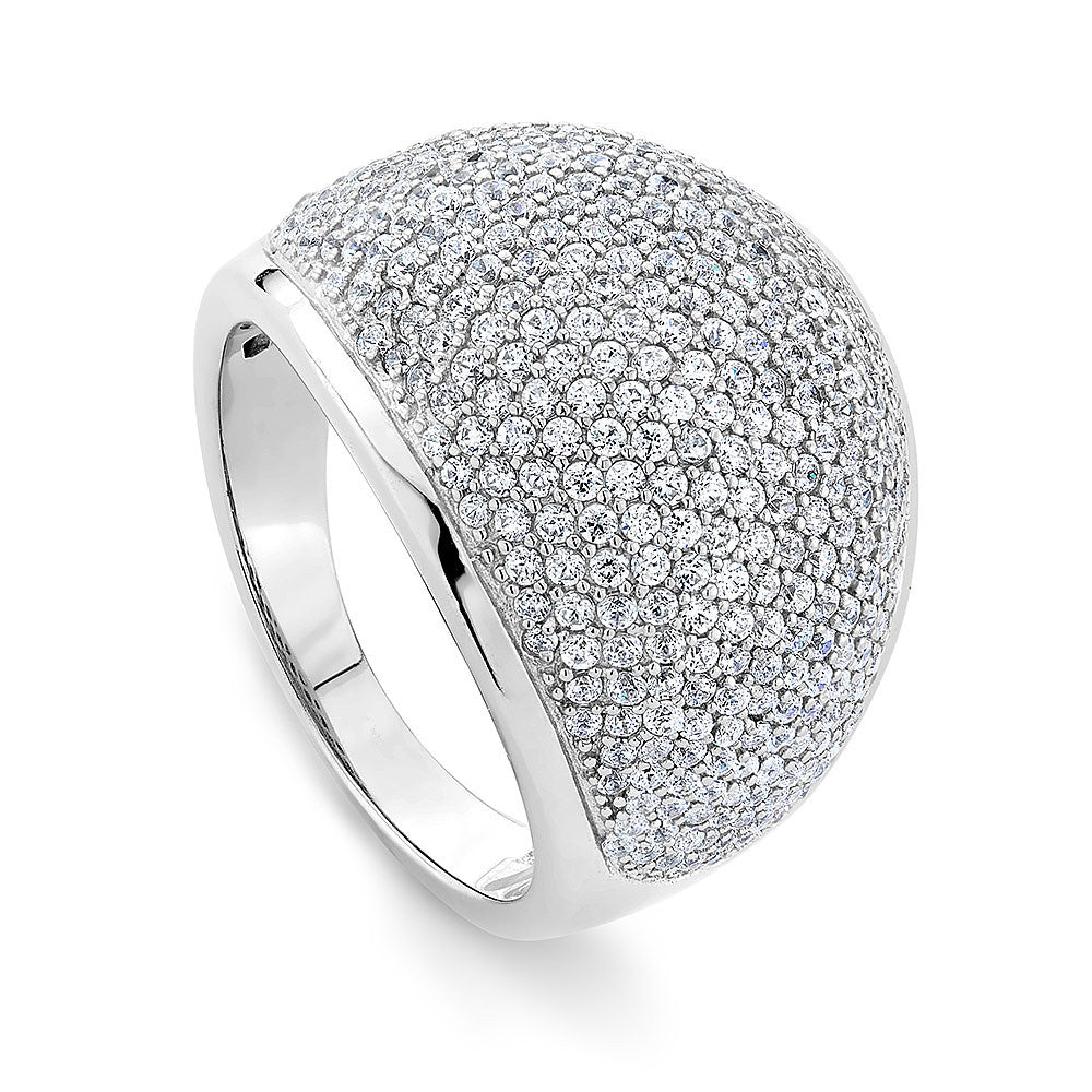 Bold Cabochon ring in sterling silver pave set with Signity CZ stones