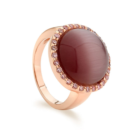 Rose Gold Plated Sterling silver ring Set With Signity CZ centered By A Round Cabochon pink Cats Eye