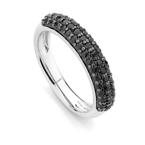 Sterling silver  ring set with black  Signity CZ