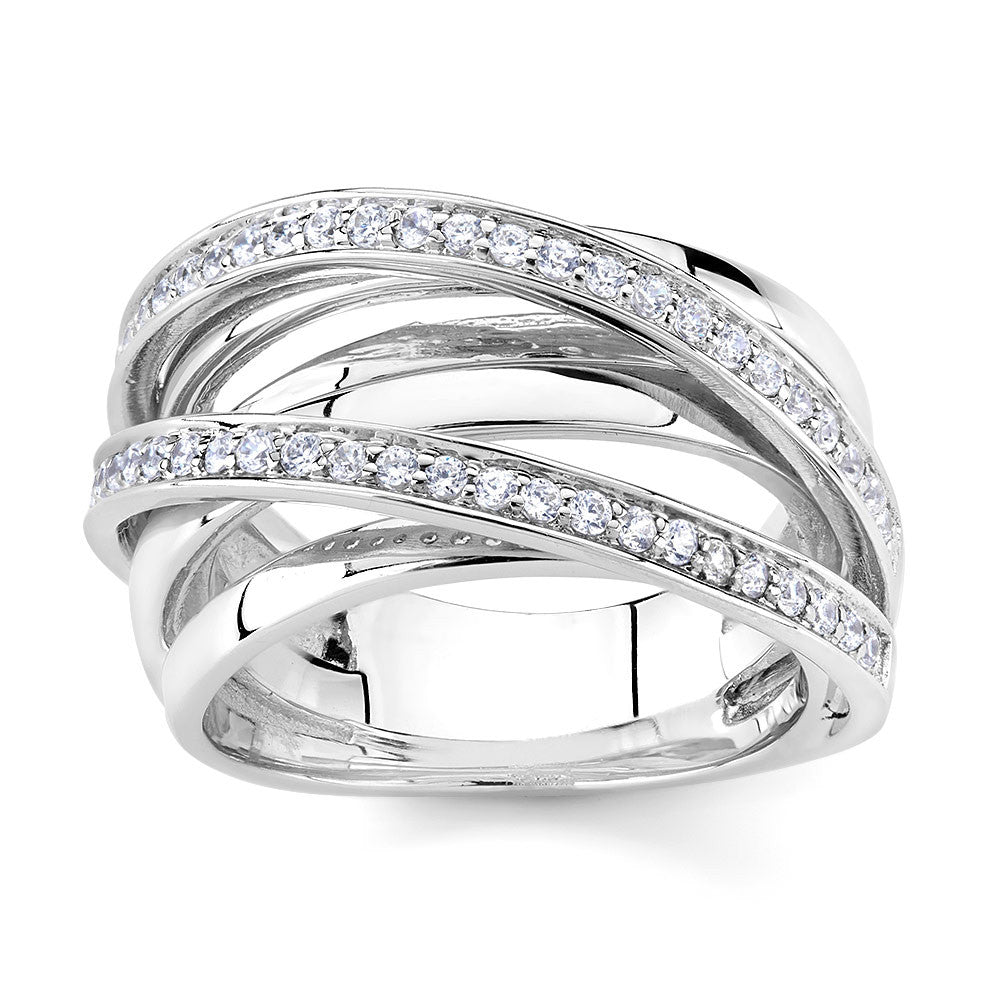 Sterling silver ring set with Signity CZ