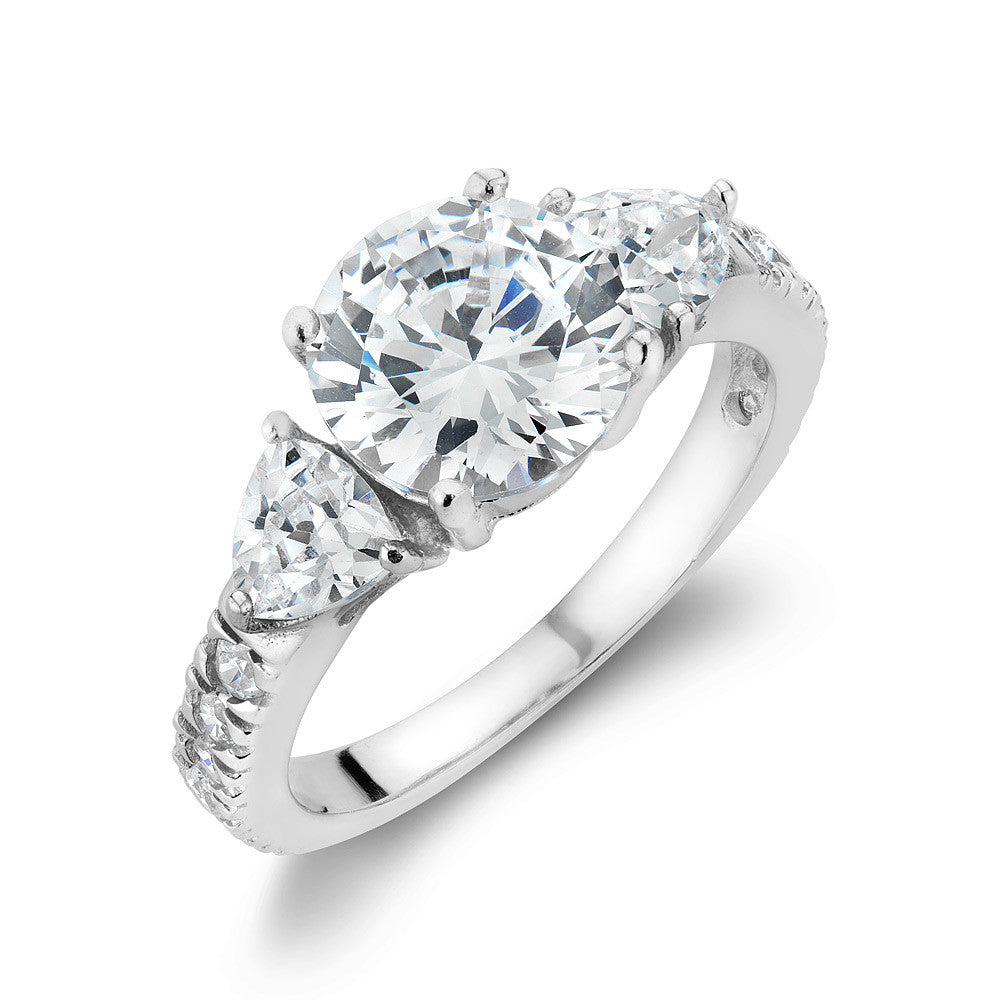 Sterling silver trinity ring set with Signity CZ