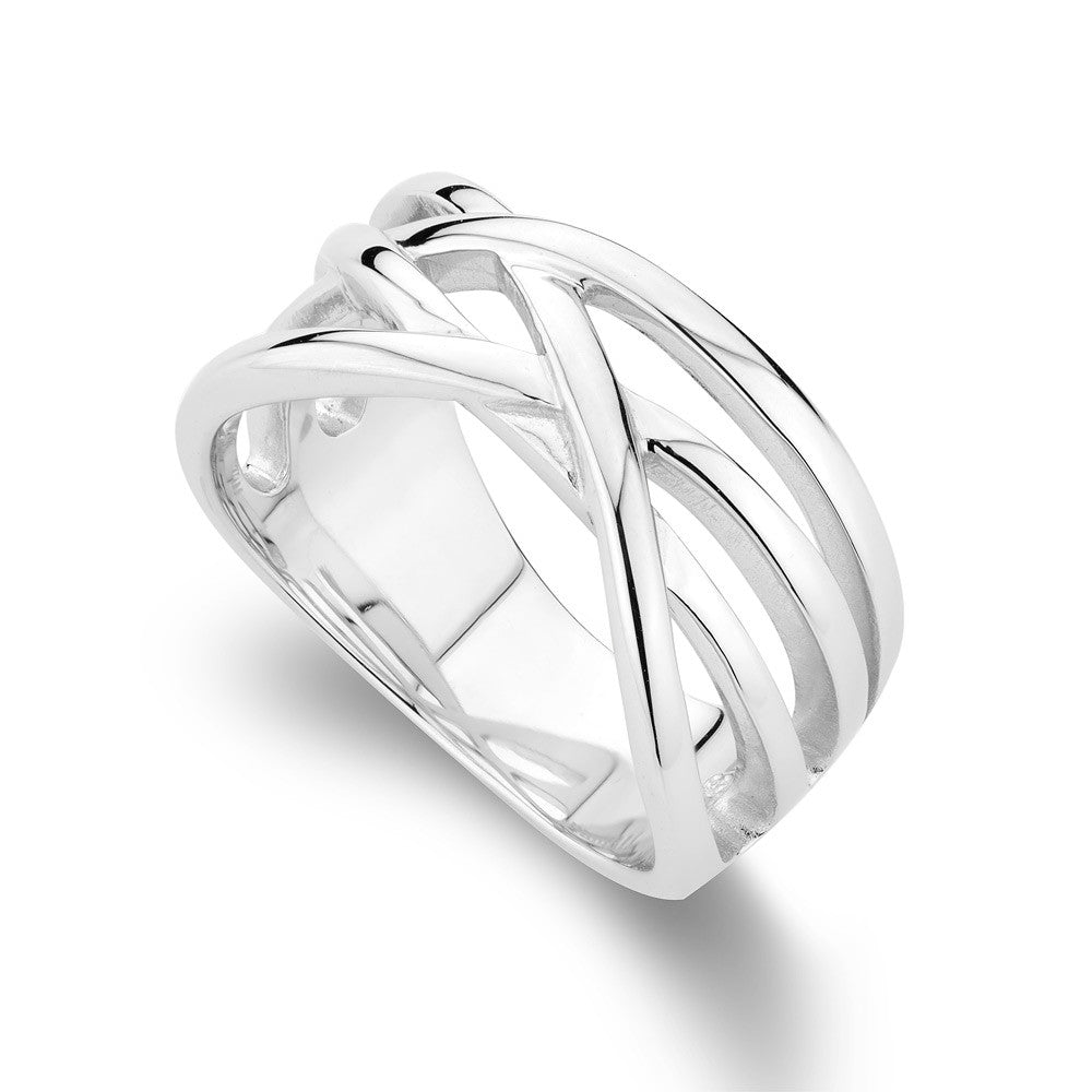 Cross Over Ring In Sterling silver,  Rhodium Plated