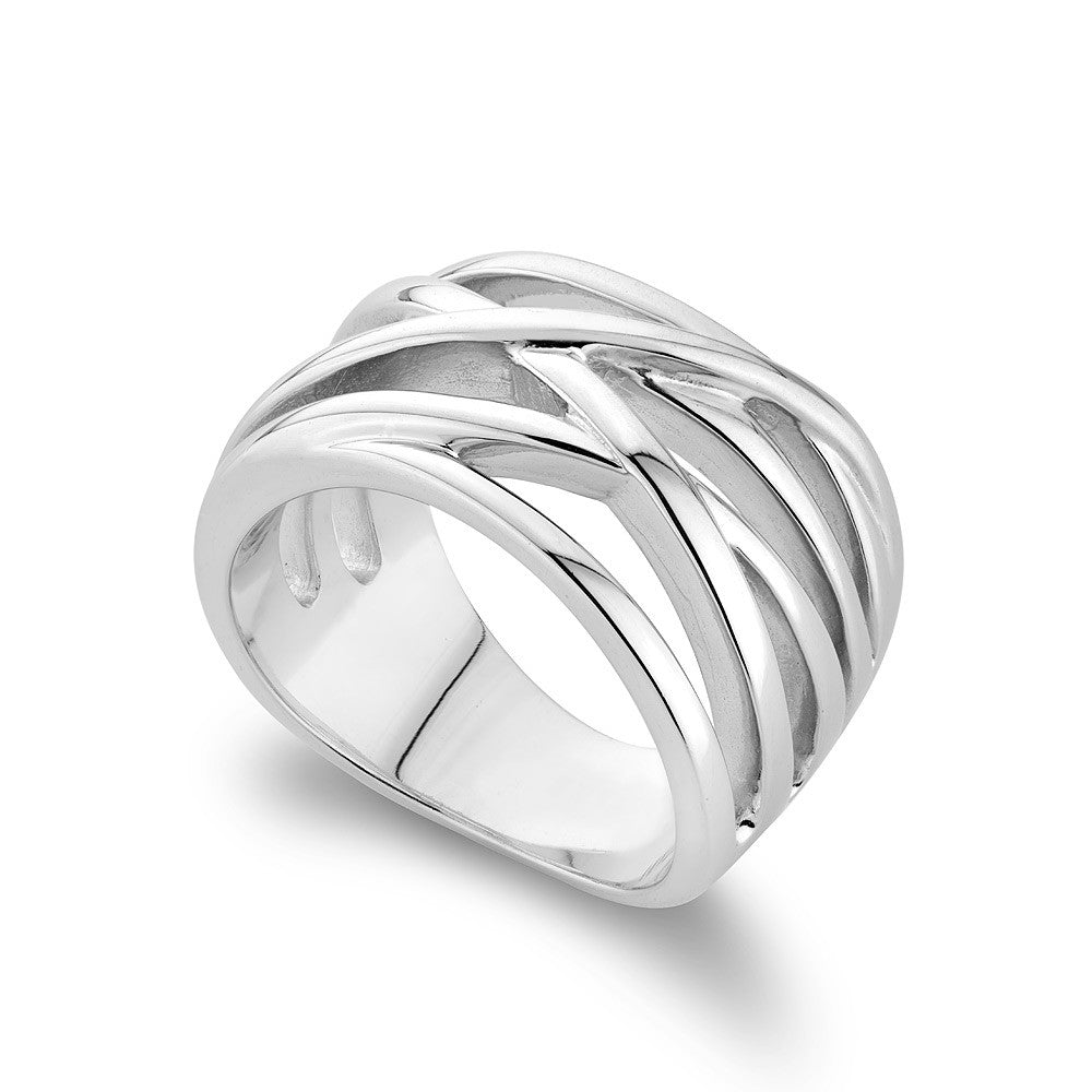 Cross Over Sterling Silver Ring rhodium Plated