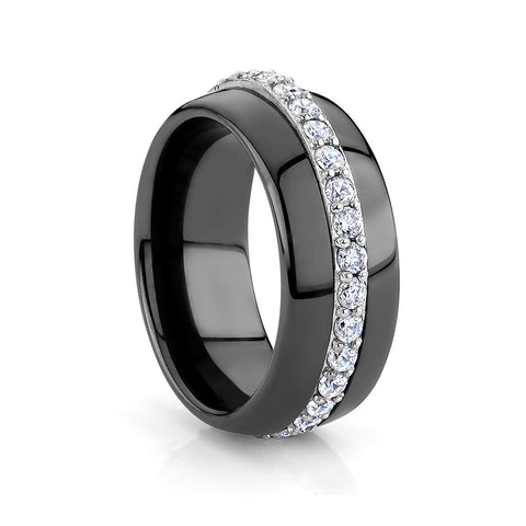 Sterling silver  and black ceramic ring set with  Signity CZ