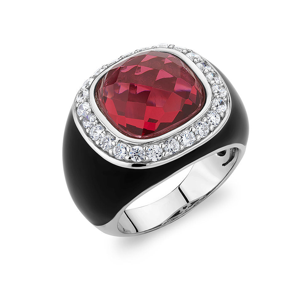 Sterling silver ring set with Signity CZ and a  red faceted emerald Swarovski Crystal