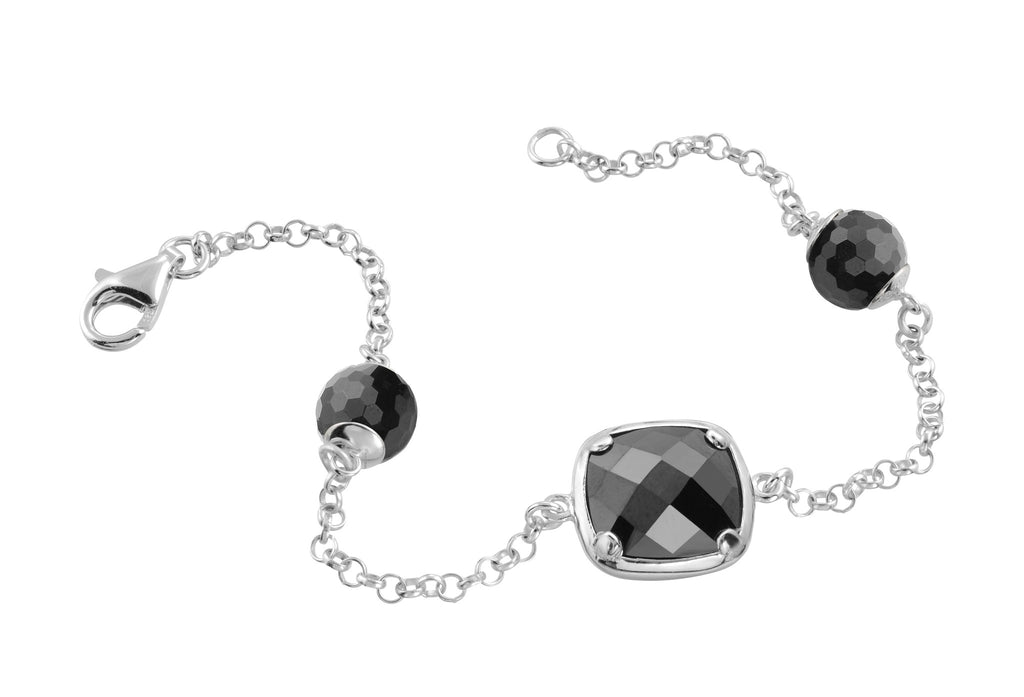 Sterling silver black onyx bracelet rhodium plated