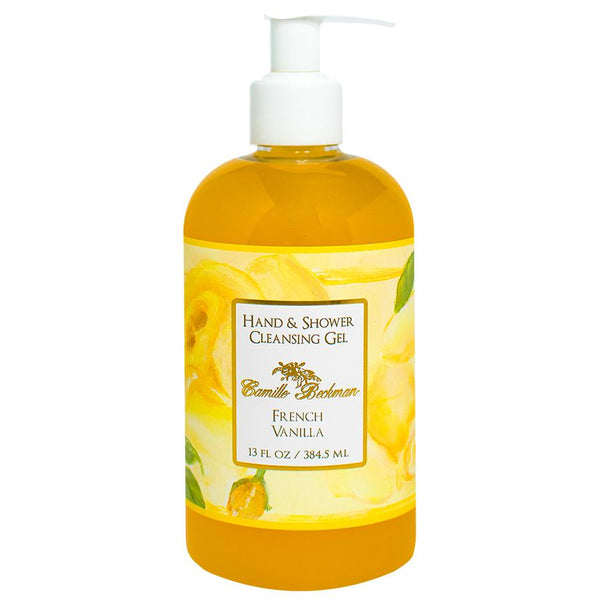 Hand and Shower Cleansing Gel 13oz French Vanilla (6/case) Pump Soap Camille Beckman
