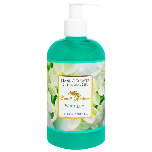 Hand and Shower Cleansing Gel 13oz White Lilac (6/case) Pump Soap Camille Beckman