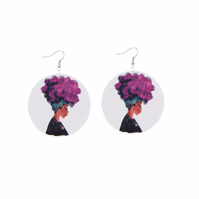 Violet-Haired Woman Dangle Earrings