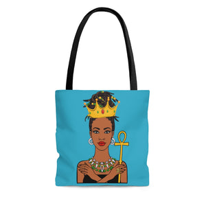 Melanated Queen Tote Bag (Blue)