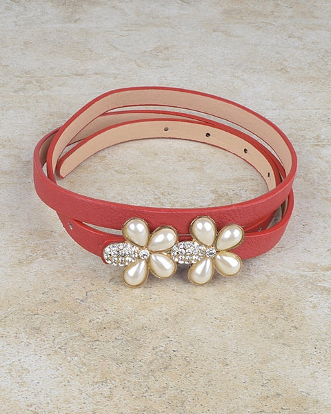 Floral Pattern Buckle Slim Belt with Crystal and Faux Pearl