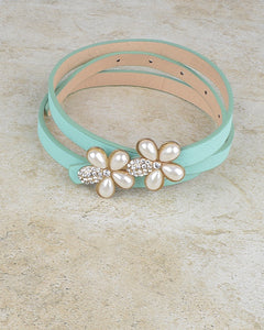 Floral Pattern Buckle Slim Belt with Crystal and Faux Pearl--MY UPSCALE STORE