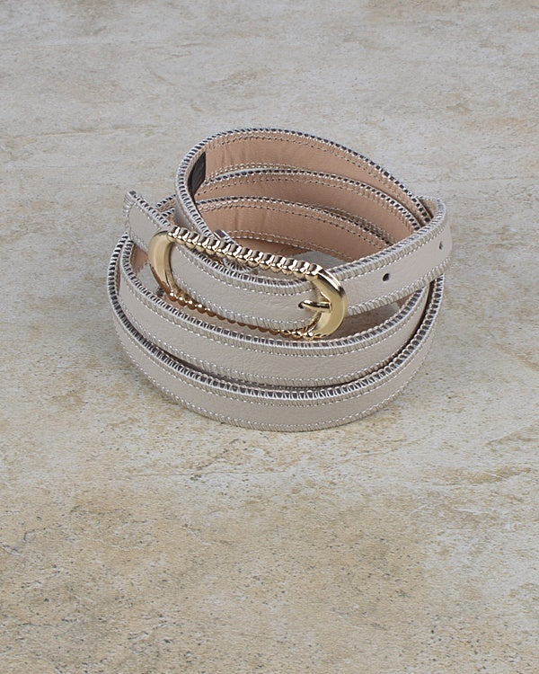 Rounded Rectangle Shaped Buckle Belt with Zip Detailing at the Edges--MY UPSCALE STORE