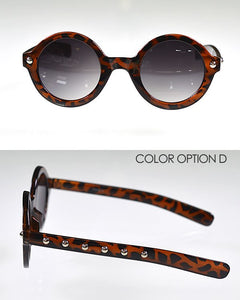 Metal Embellished Round Sunglasses--MY UPSCALE STORE