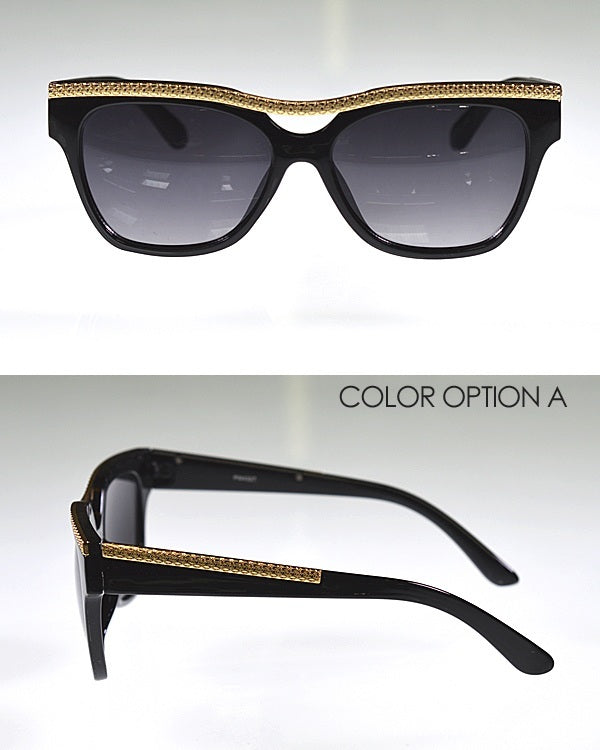 Wayfarer Sunglasses with Metal Embellishments--MY UPSCALE STORE