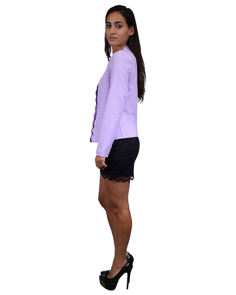 Full Sleeve Scalloped Trim Blazer-S-MY UPSCALE STORE