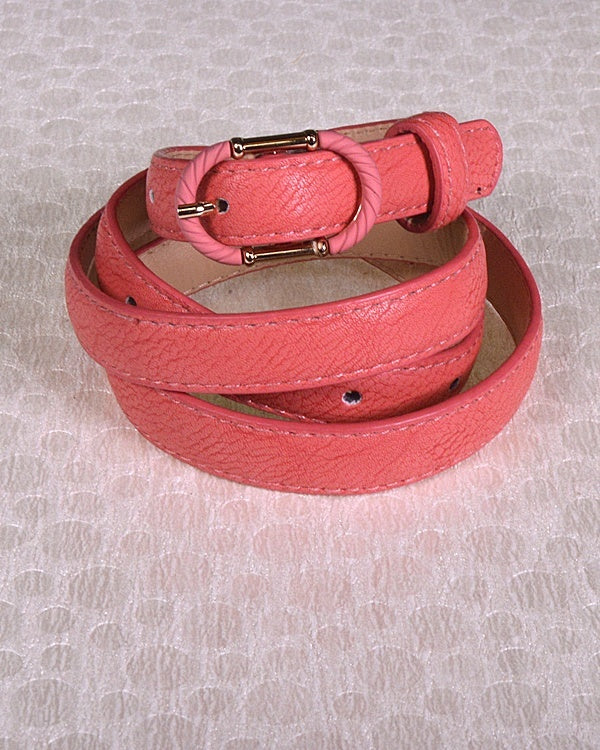 Faux Leather Adjustable Belt with Decorative Oval Buckle-id.31380d-Coral-MY UPSCALE STORE