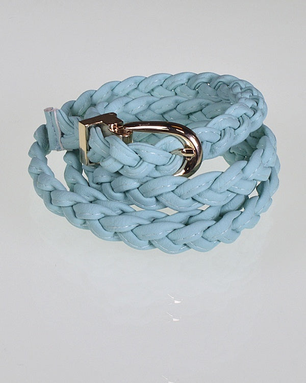 Faux Leather Braided Skinny Belt with Metallic Buckle-MInt-MY UPSCALE STORE