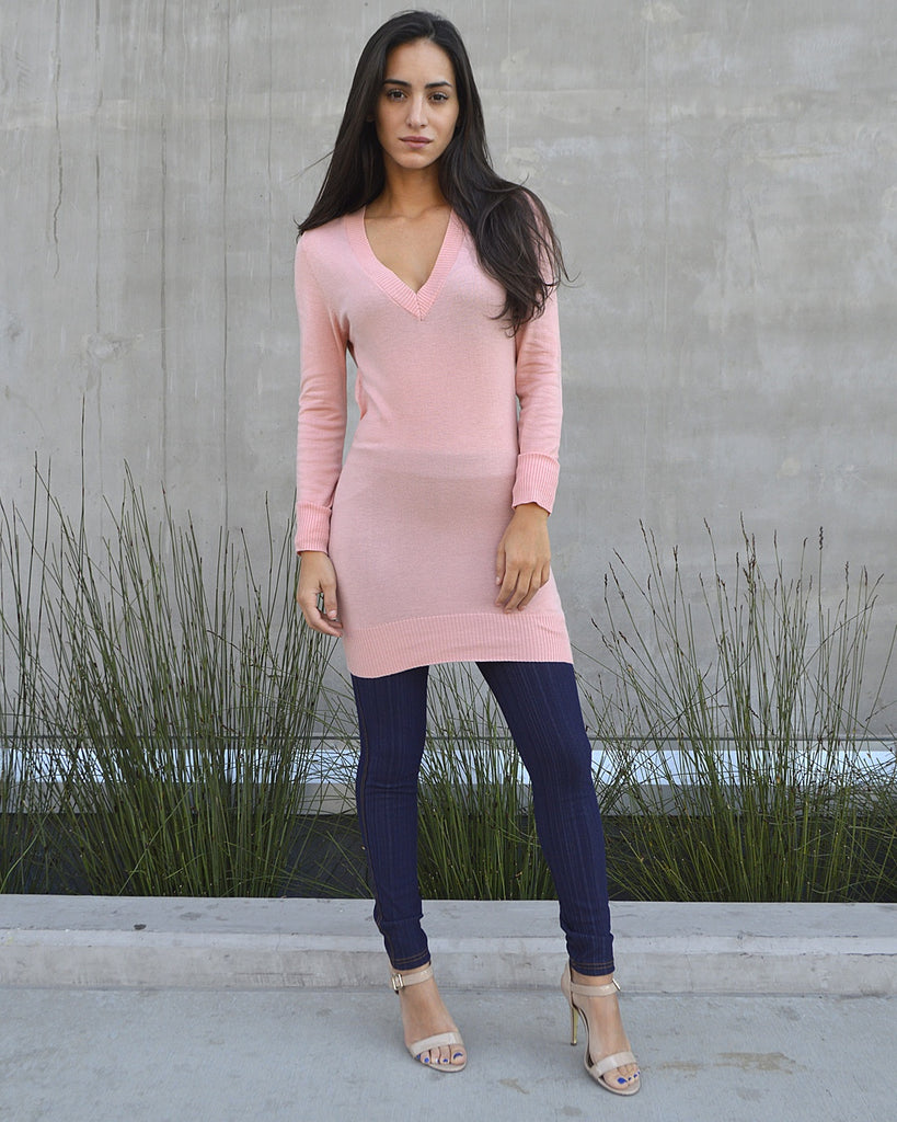 Solid Ribbed V Neckline Sweater