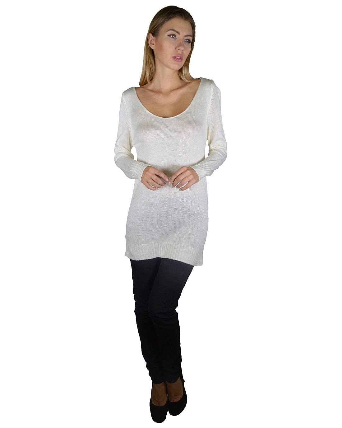 Full Sleeves Deep Neck Long Knitted Top with Leather X Back-S-MY UPSCALE STORE