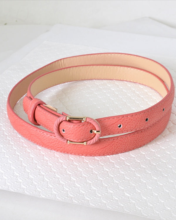 Faux Leather Adjustable Belt with Decorative Oval Buckle-Coral-MY UPSCALE STORE