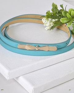 Gold Thin Bow Skinny Fashion Belt-Turquoise-MY UPSCALE STORE