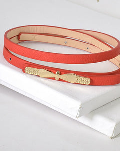 Gold Thin Bow Skinny Fashion Belt-Red-MY UPSCALE STORE