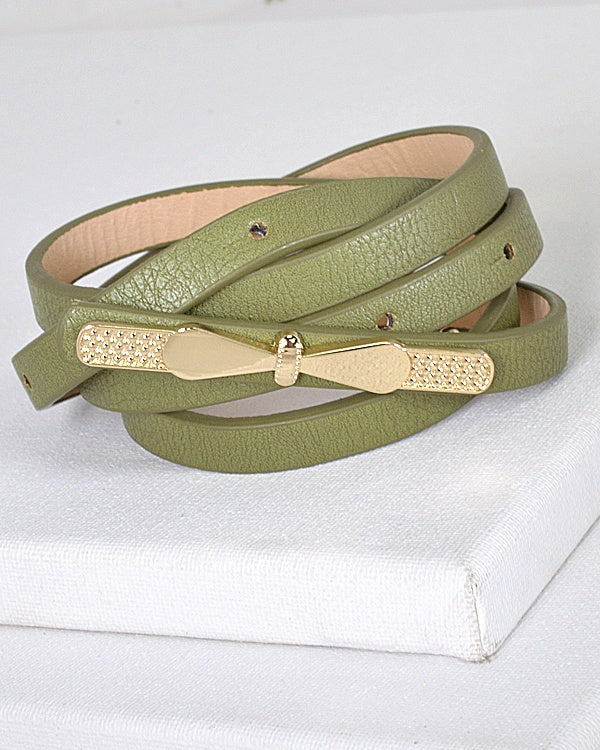 Gold Thin Bow Skinny Fashion Belt-Olive-MY UPSCALE STORE
