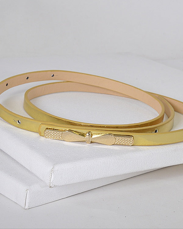Gold Thin Bow Skinny Fashion Belt-Gold-MY UPSCALE STORE