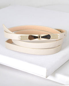 Gold Thin Bow Skinny Fashion Belt-Beige-MY UPSCALE STORE