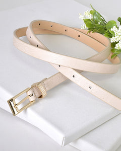 Engrave Ring Skinny Faux Leather Belt-Beige-MY UPSCALE STORE