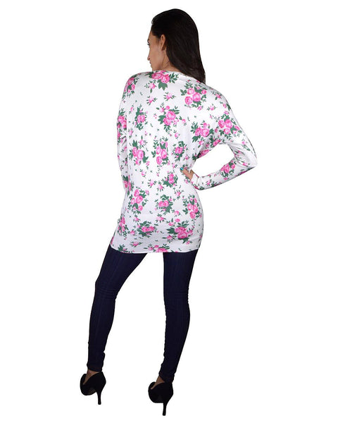 Floral Printed Tunic Style Sweater-S-MY UPSCALE STORE