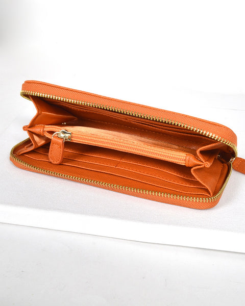 Solid Textured Metal Detailing Clutch-Orange-MY UPSCALE STORE