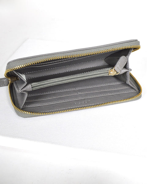 Solid Textured Metal Detailing Clutch-Gray-MY UPSCALE STORE