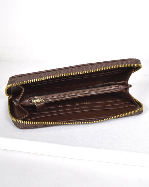 Textured Quilt Design Clutch-Brown-MY UPSCALE STORE
