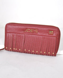 Textured Fringe Design Metal Accented Clutch-Red-MY UPSCALE STORE