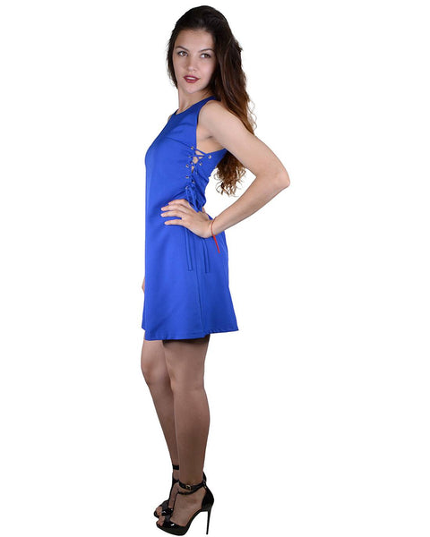 Solid Side Criss Cross Tie Up Pattern Mini Dress-S-MY UPSCALE STORE